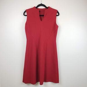 Lafayette 148 Red Sheath Dress Sleeveless SZ L